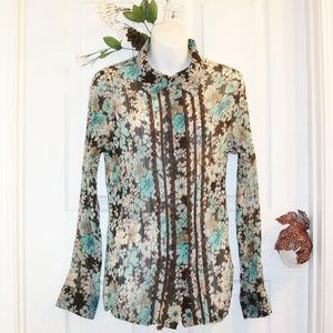 CLAUDIA RICHARD Pleated Button Down Shirt